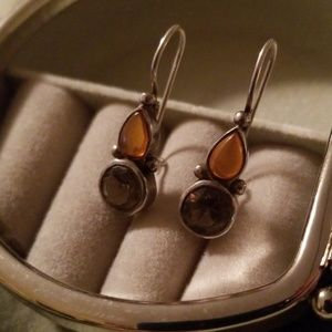 Jewelry - Vintage 925 Sterling Silver Gold & Green earrings